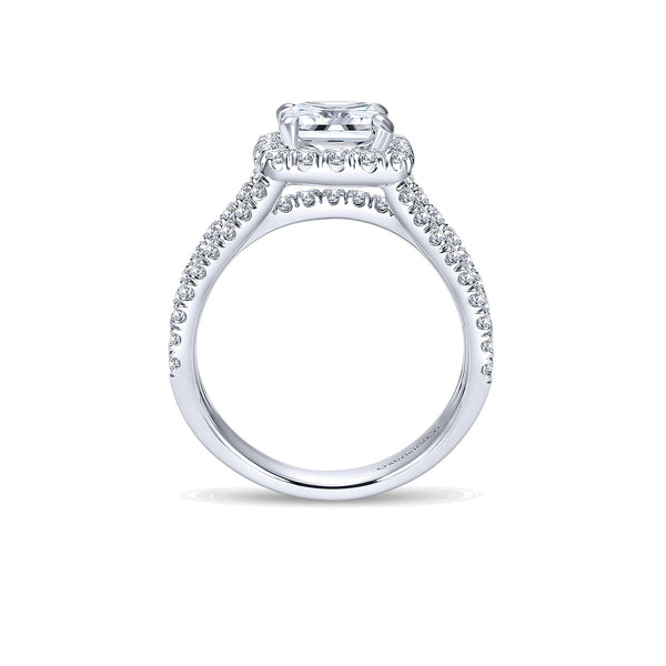 Sabrina 14k White Gold Cushion Halo Engagement Ring