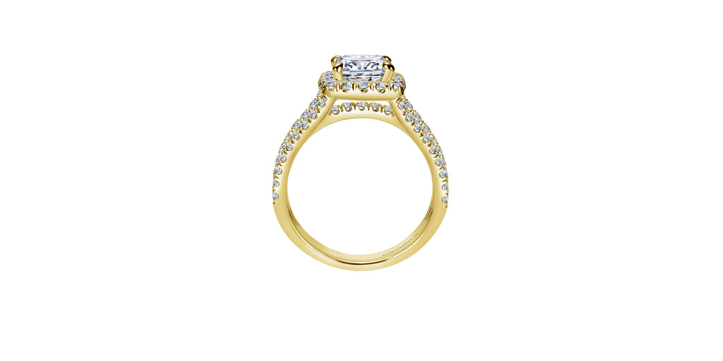 Sabrina 14k Yellow Gold Cushion Halo Engagement Ring