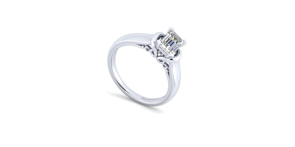 Lenora 14k White Gold Emerald Solitaire Engagement Ring