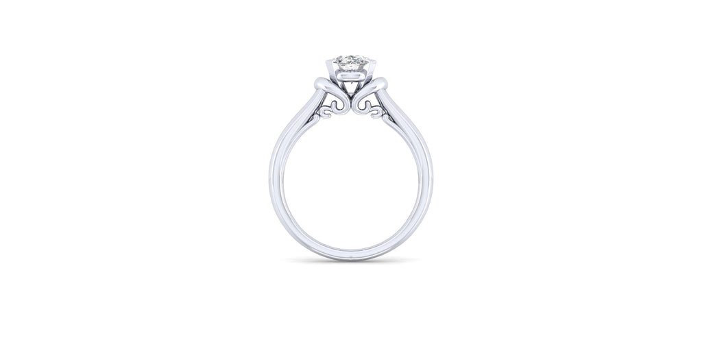 Lenora 14k White Gold Oval Solitaire Engagement Ring