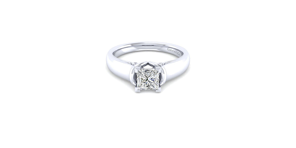 Lenora 14k White Gold Princess Solitaire Engagement Ring