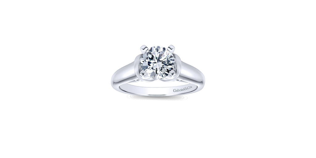 Lenora 14k White Gold Round Solitaire Engagement Ring