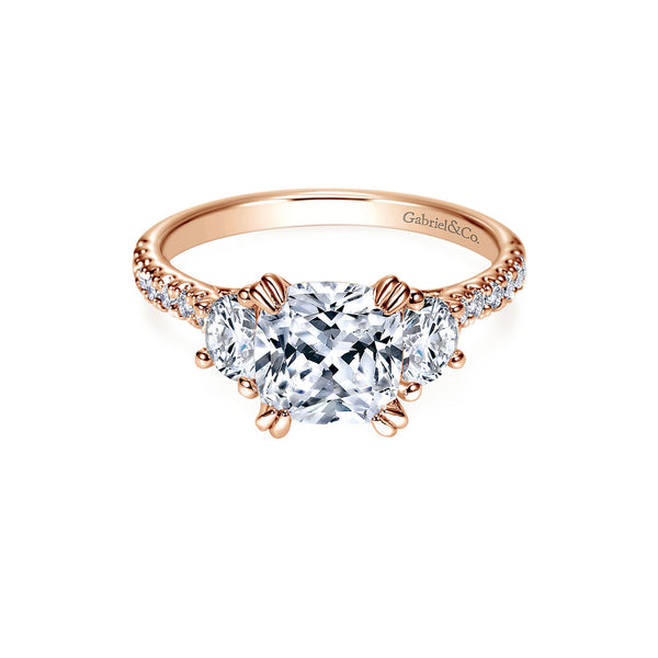 Monroe 14k Rose Gold Cushion Shape Three Stone Engagement Ring