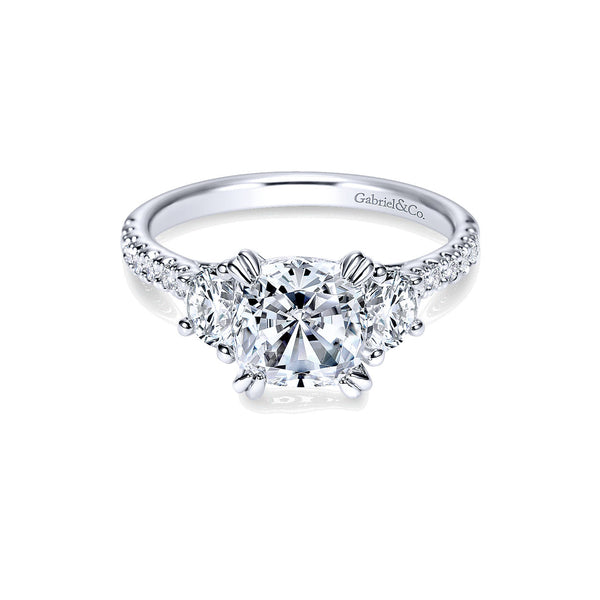 Monroe 14k White Gold Cushion Shape Three Stone Engagement Ring