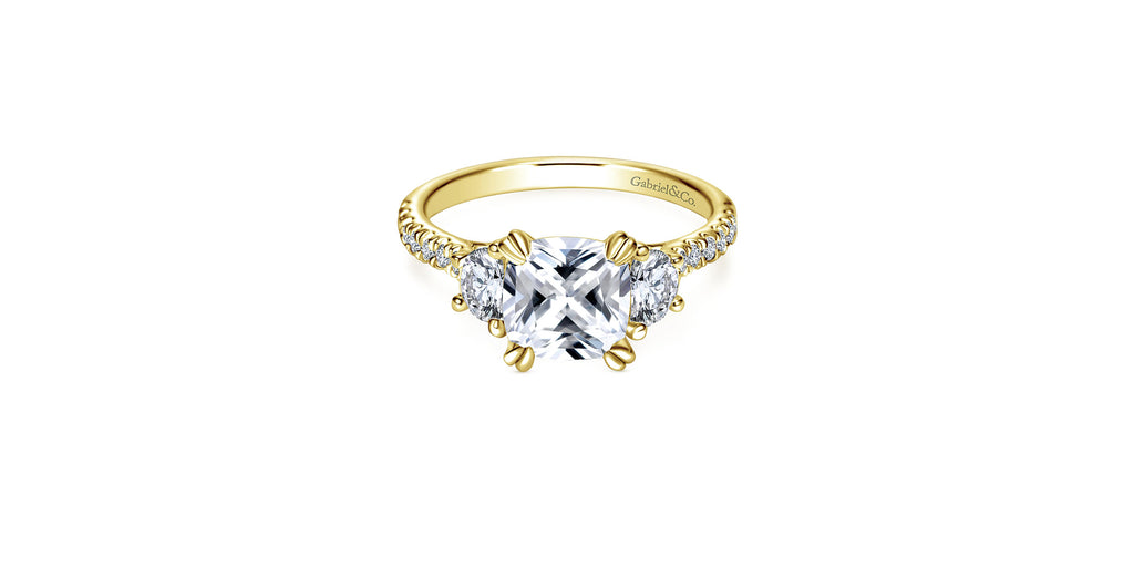Monroe 14k Yellow Gold Cushion Shape Three Stone Engagement Ring