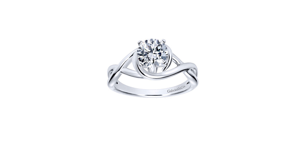 Celine 14k White Gold Round Twisted Engagement Ring