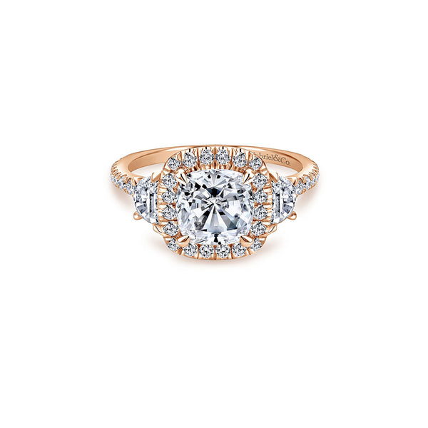 Mia 14k Rose Gold Cushion Three Stone Halo Engagement Ring
