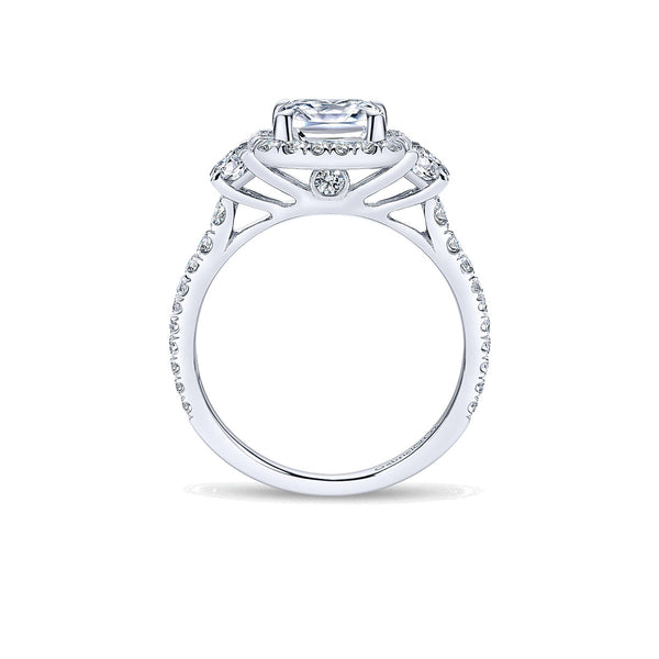 Mia 14k White Gold Cushion Three Stone Halo Engagement Ring