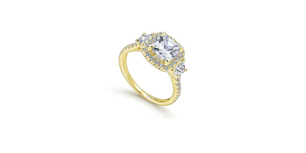 Mia 14k Yellow Gold Cushion Three Stone Halo Engagement Ring