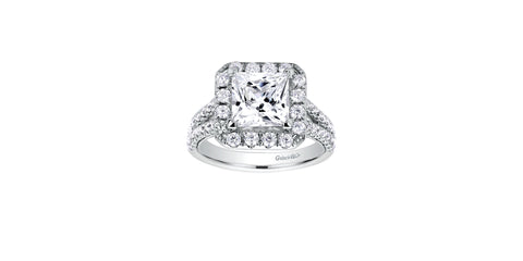 Corinna 14k White Gold Princess Shape Halo Engagement Ring