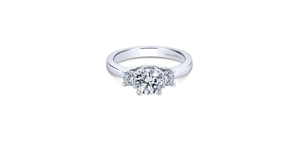 14k White Gold Round Three Stone Engagement Ring