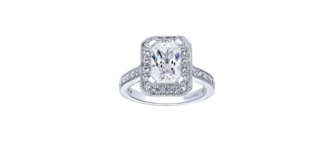 Corinne Vintage 14k White Gold Emerald Cut Halo Engagement Ring