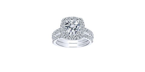 Skylar 14k White Gold Round Halo Engagement Ring