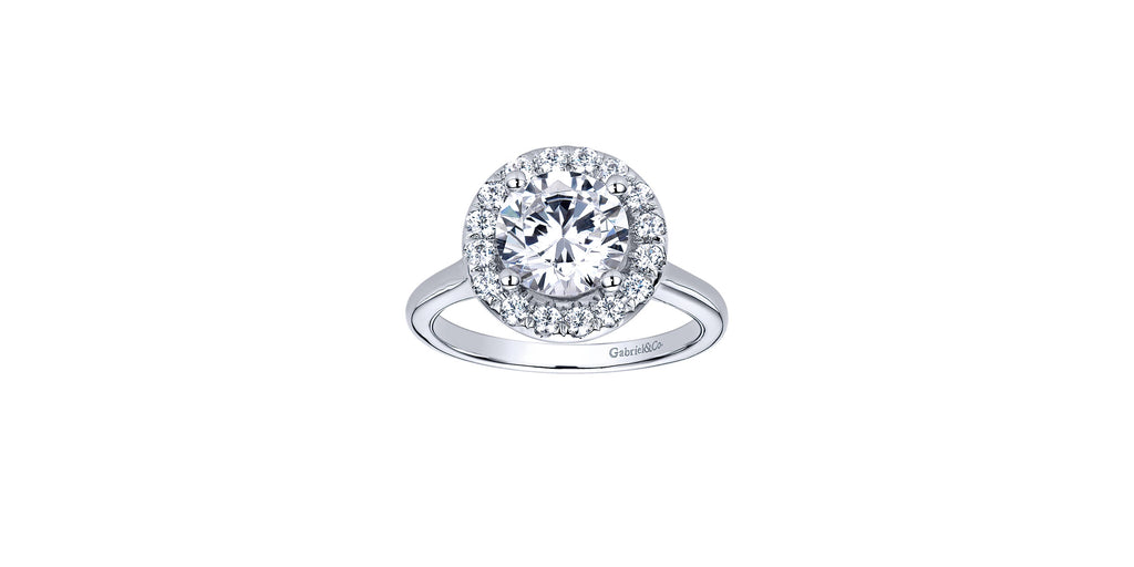 Stacy 14k White Gold Round Halo Engagement Ring