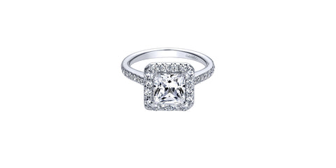 Patience 14k White Gold Princess Shape Halo Engagement Ring