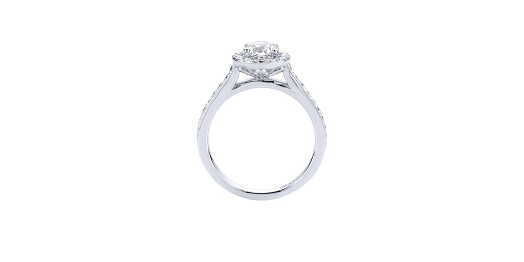 Bernadette Vintage 14k White Gold Round Halo Engagement Ring