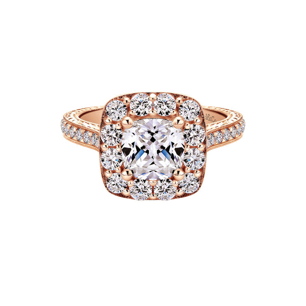 Zelda Vintage 14k Rose Gold Cushion Shape Halo Engagement Ring