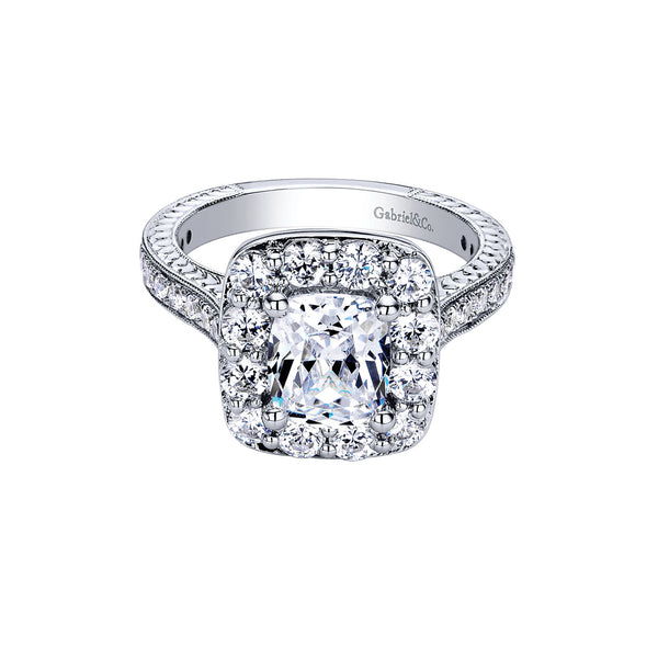 Zelda Vintage 14k White Gold Cushion Shape Halo Engagement Ring
