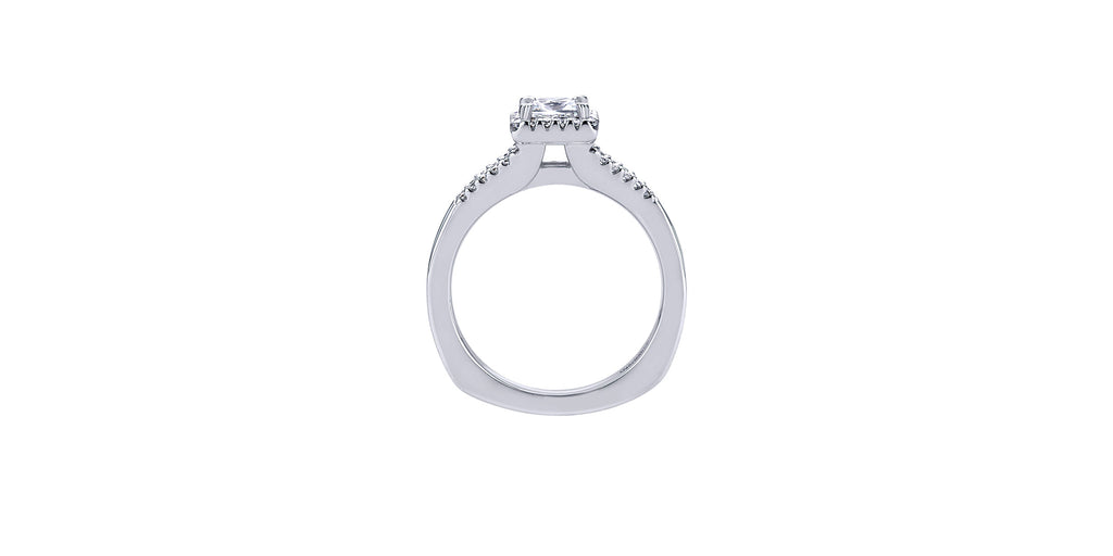 Drew 14k White Gold Princess Shape Halo Engagement Ring