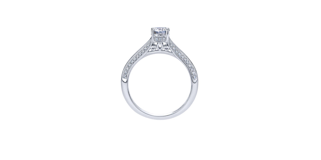 14k White Gold Round Split Shank Engagement Ring