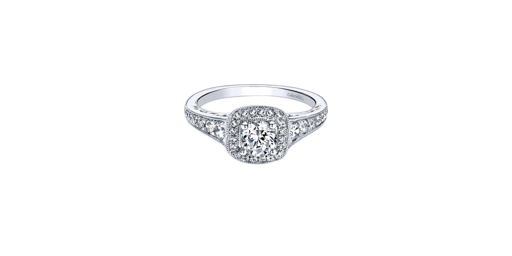 Florence Vintage 14k White Gold Round Halo Engagement Ring