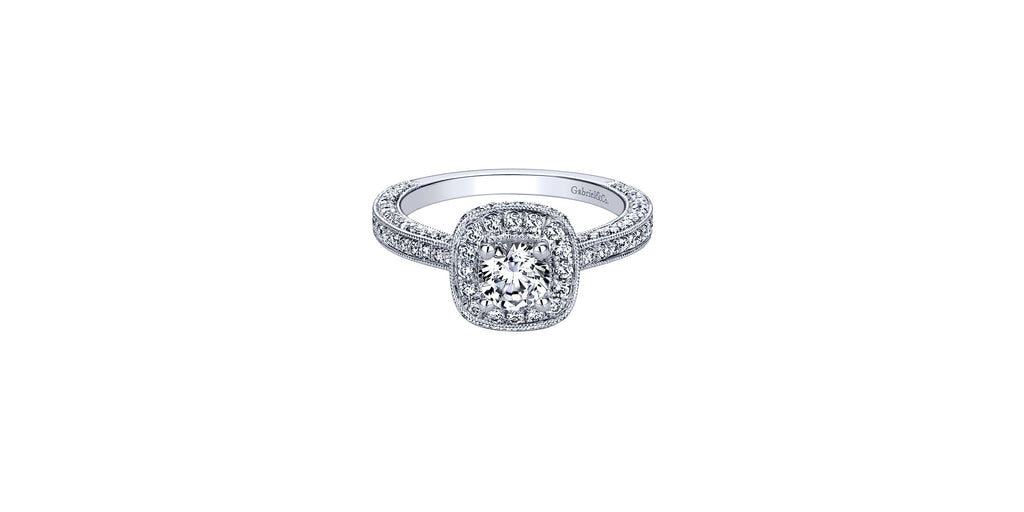 Vintage 14k White Gold Round Halo Engagement Ring