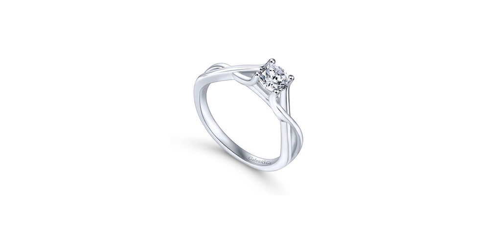 Robin 14k White Gold Round Twist Solitaire Engagement Ring