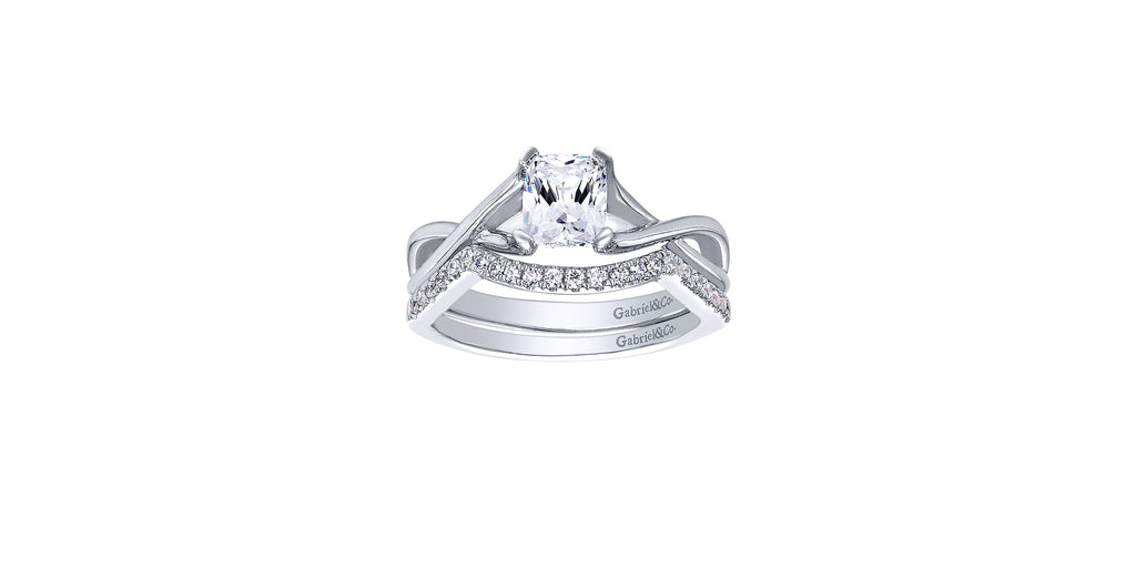 Robin 14k White Gold Cushion Twist Solitaire Engagement Ring