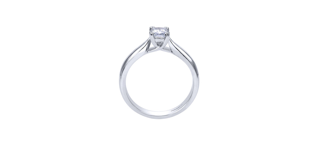 Jamie 14k White Gold Cushion Solitaire Engagement Ring