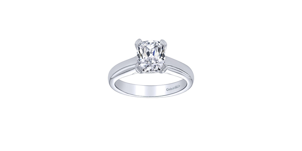 14k White Gold Cushion Solitaire Engagement Ring