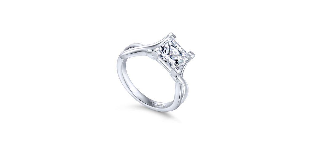 Robin 14k White Gold Princess Twist Solitaire Engagement Ring