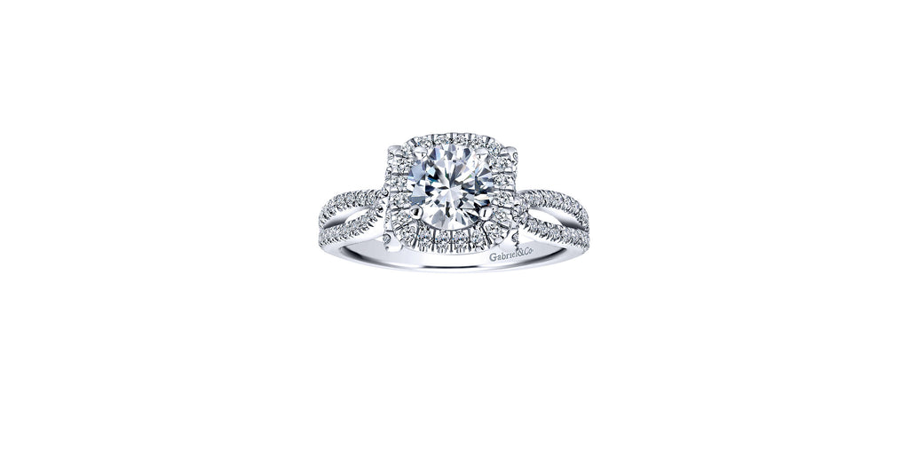 Sonya 14k White Gold Round Halo Engagement Ring