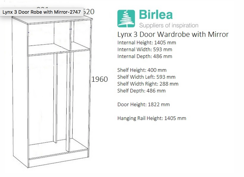 Lynx 3 Door Robe with Mirror