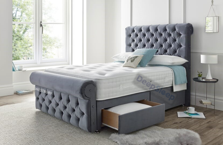 Westbury Sleigh Bed and Mattress