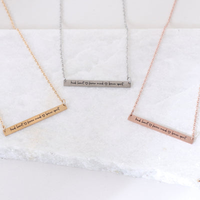 KIND HEART, FIERCE MIND, BRAVE SPIRIT - ENGRAVED BAR NECKLACE