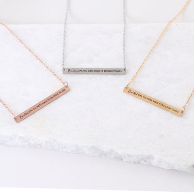 BEAUTIFUL GIRL - ENGRAVED BAR NECKLACE