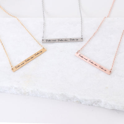 POSITIVE MIND, POSITIVE VIBES, POSITIVE LIFE - ENGRAVED BAR NECKLACE
