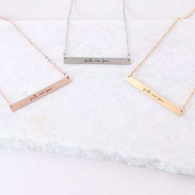 FAITH OVER FEAR - ENGRAVED BAR NECKLACE