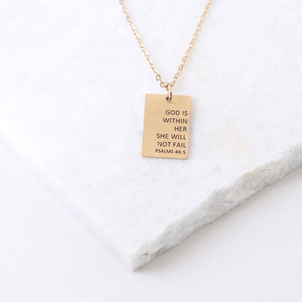 GOD IS WITHIN HER - RECTANGULAR PENDANT NECKLACE
