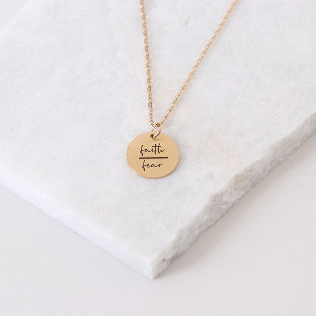 Faith Over Fear - Circle Pendant Necklace