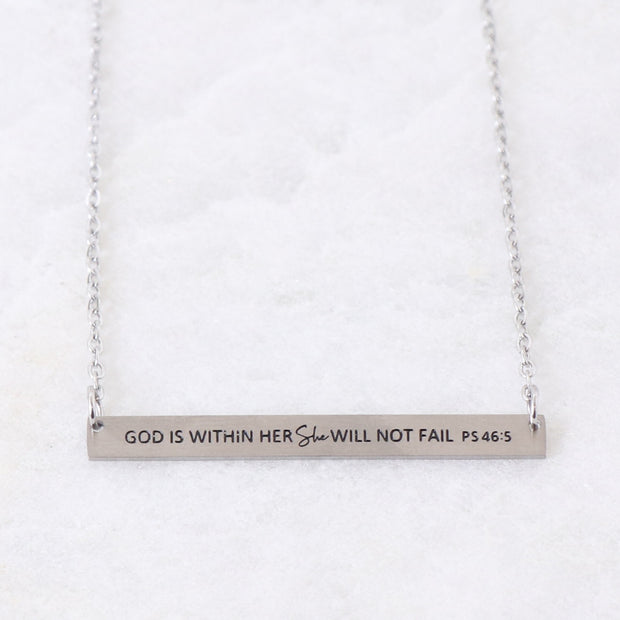 GOD IS WITHIN HER - ENGRAVED BAR NECKLACE