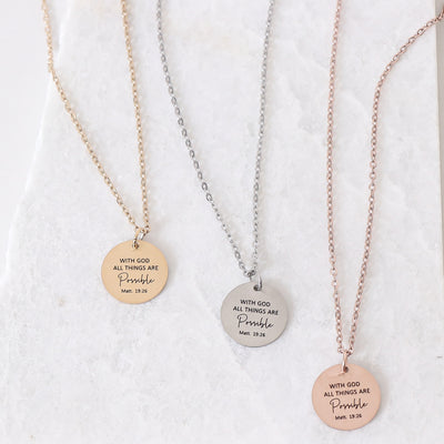 WITH GOD ALL THINGS ARE POSSIBLE- CIRCLE PENDANT NECKLACE