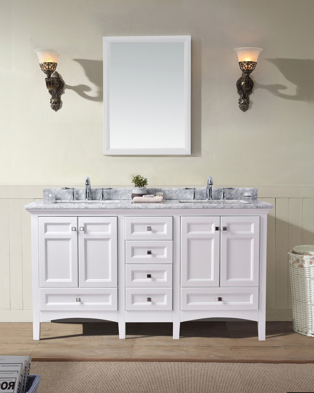 60 double sink bathroom vanity. Luz 60  Double Sink Bathroom Vanity White Ari Kitchen Bath