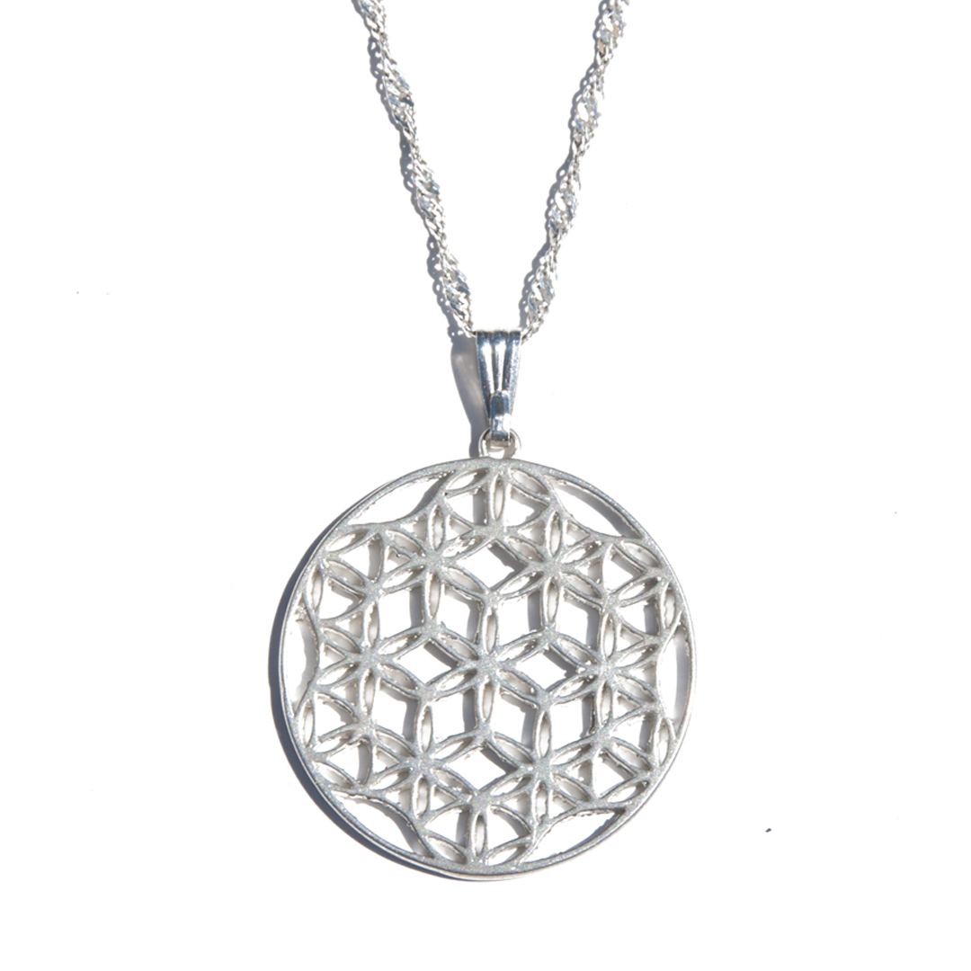 Silver flower of life pendant don mccaul flower of life pendant with singapore chain aloadofball Choice Image