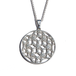 flower of life pendant with wheat chain