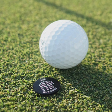 Finemark black personalized golf ball marker