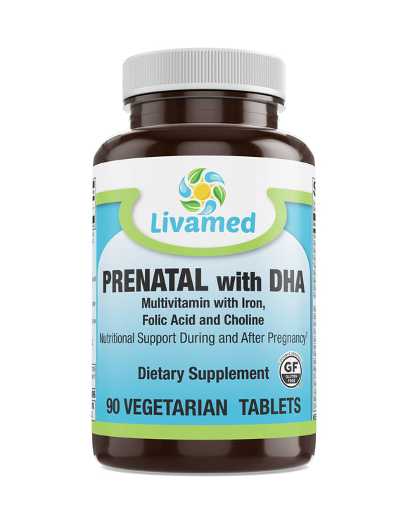 Livamed - Prenatal with DHA Veg Tabs 90 Count - Vitamins Emporium