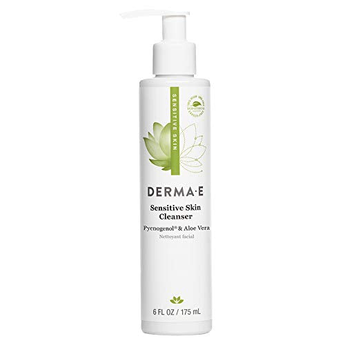 DERMA-E Sensitive Skin Cleanser, Pycnogenol and Aloe Infused, Fragrance Free, White, Unscented, 6 Fl Oz