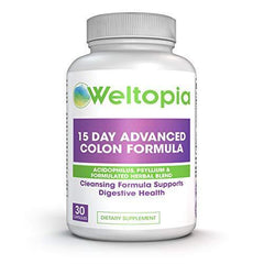 Weltopia - 15 Day Advance Colon Cleanse Formula with Probiotic - to Support Detox, Digestive Health, Weight Loss & Increased Energy Levels - Contains Acidophilus, Fiber, Aloe, Cascara Sagrada, Senna l