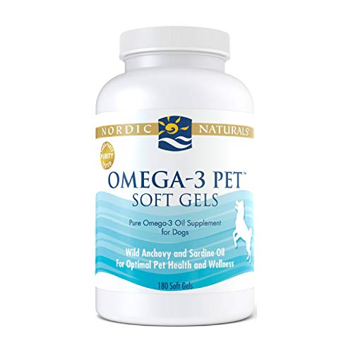 Nordic Naturals Omega-3 Pet, Unflavored - 330 mg Omega-3 Per Soft Gel - 180 Soft Gels - Fish Oil for Dogs with EPA & DHA - Promotes Heart, Skin, Coat, Joint, & Immune Health - Non-GMO